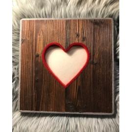 Altholzbild mit Filz Herz